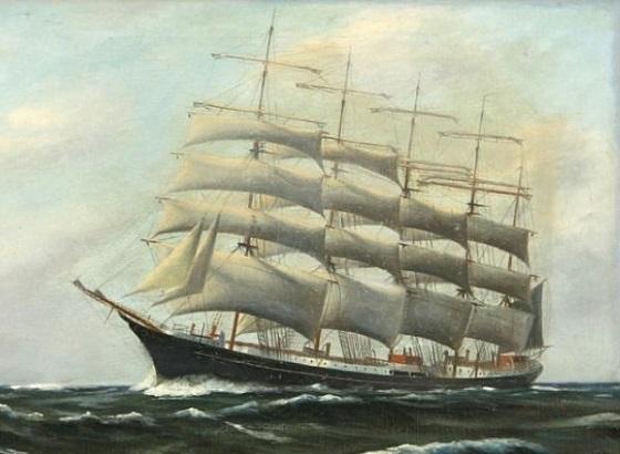 Maleri af Skoleskibet København