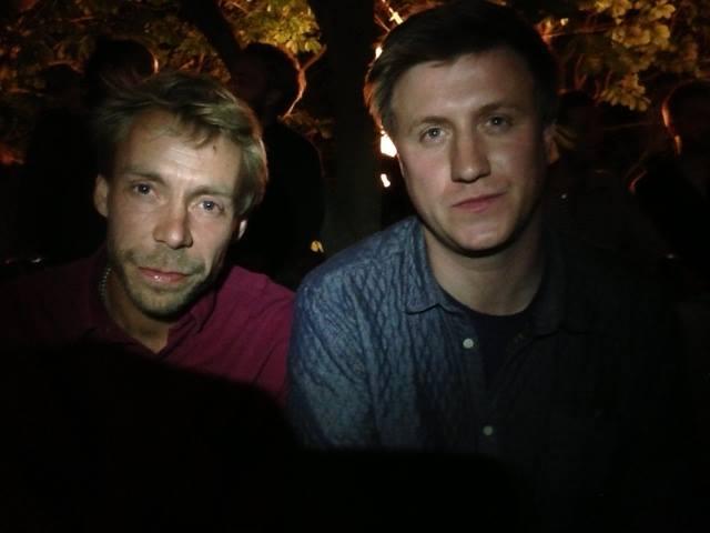 Kasper Lynge Jensen og Thomas Buhl-Wiggers, lørdag nat, Sejerø, 2013. Foto af Lars Colberg.